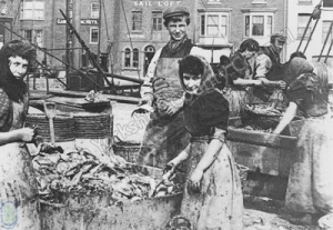 Scottish Herring Girls at Sandside, Scarborough